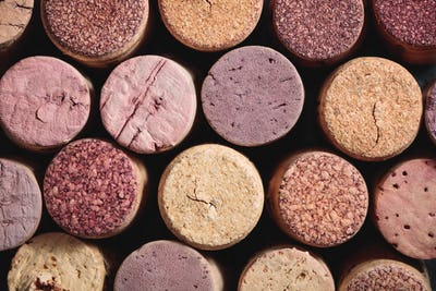 Top view of wine corks.