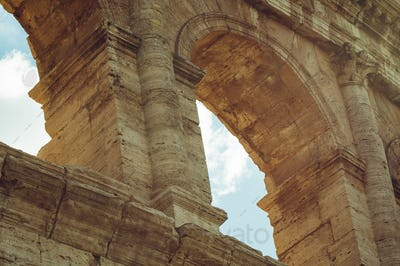 Close-up of arches of Coliseum, Roma, Italy.