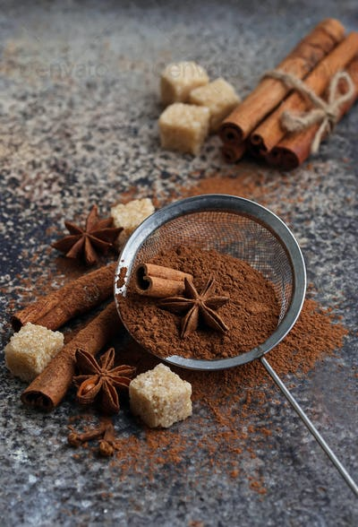 ?ocoa powder, cinnamon sticks and anise
