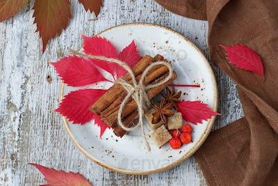 Cinnamon sticks in white plate