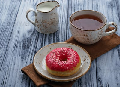 Donut and cup of tea