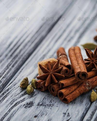 Cinnamon sticks, star anise, cardamom