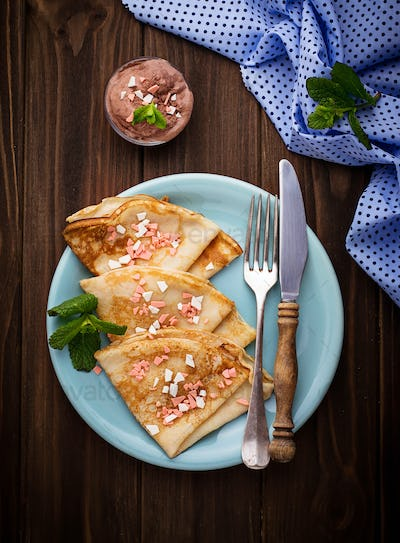 Sweet crepes with chocolate chips.