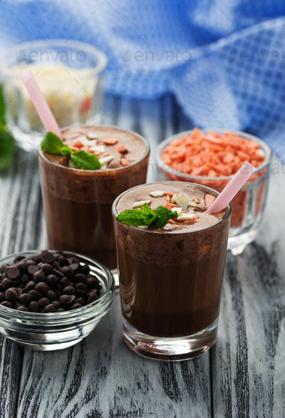 Chocolate smoothie and mint