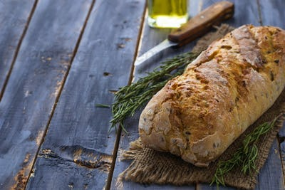 Bread ciabatta, olive oil and rosemary