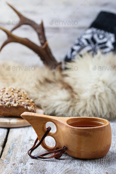 Tea in traditional finnish cup kuksa