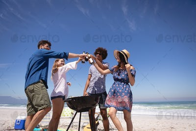 Friends toasting beer bottle at beach