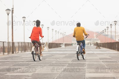 Rear view of cute Multi-ethnic couple riding bicycle at promenade on a sunny day