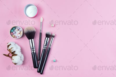 Set of flat top view of various professional female cosmetics brushes for makeup isolated on pink