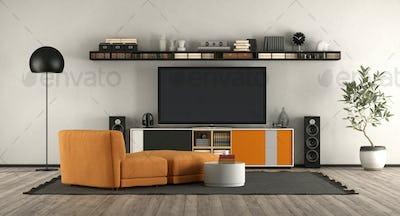 Modern living room with home cinema equipment