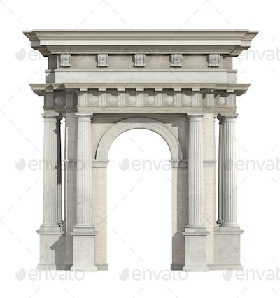 Portal in neoclassical style isolated on white