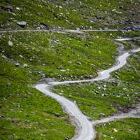 Serpentine road in Himalayas mountains