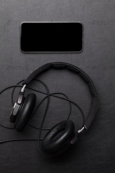 Headphones and smartphone