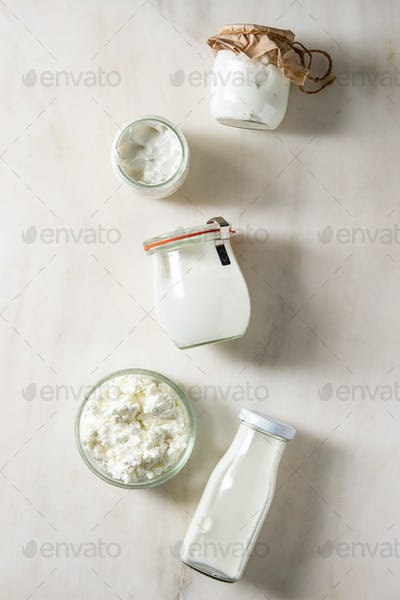 Set of dairy produce