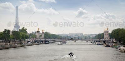 View of bridge Alexander III and Eiffel tower