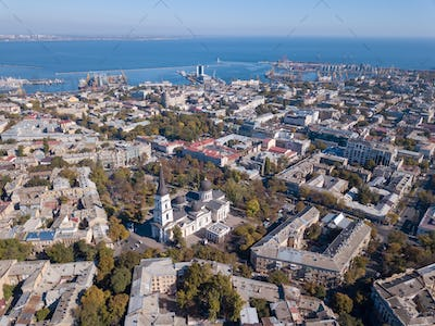 Panoramic view of the Black Sea with the port and the city from Spaso-Preobrazhensky. Cathedral