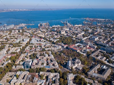 Panoramic view of the city of Odessa, from Spaso-Preobrazhensky Cathedral and sea port on a