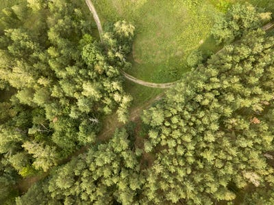 Top view of the winding road through the woods on a summer afternoon. Aerospace with a drone as a