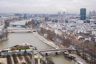 aerial view of Paris and Seine river