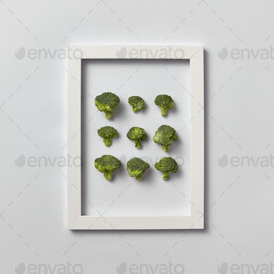Fresh organic broccoli set in a frame on a light gray background