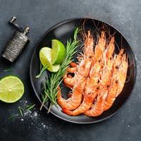 Boiled prawn shrimps on a plate