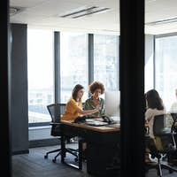 Four female creative colleagues busy working in an office, seen through glass wall with text on it