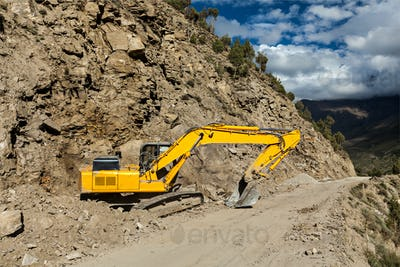 Road reconstruction in mountains Himalayas