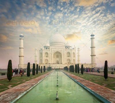 Taj Mahal on sunrise sunset, Agra, India