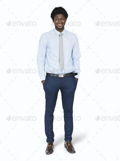 Black businessman standing mockup