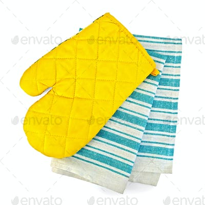 Kitchen towel and potholder