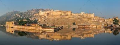Panorama of Amer (Amber) fort, Rajasthan, India