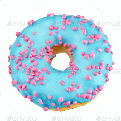Blue donut isolated on white