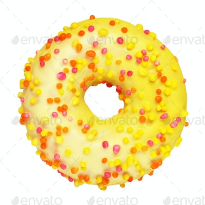 Yellow donut isolated on white