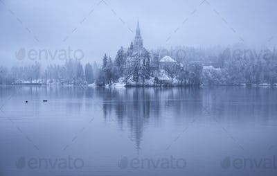 Bled on a winter and gloomy day