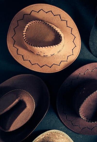 cowboy hat on  black