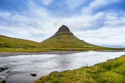 Beautiful Kirkjufell mountain with cloudy, Snaefellsnes peninsula, Iceland
