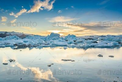 Scenic view of icebergs in Jokulsarlon glacier lagoon, Iceland, at sunset