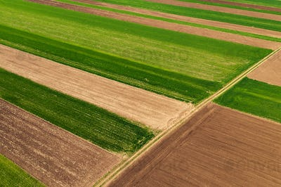 Aerial view of countryside agricultural fields patchwork