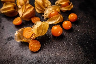 Yellow physalis fruits