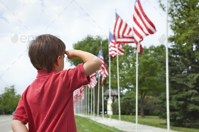 Young boy salutes row of American flags