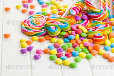 Colorful lollipops and sweet candy