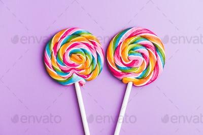 Two sweet colorful lollipop.