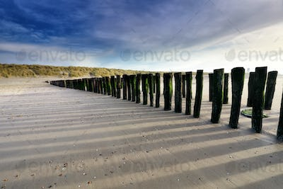 old wooden breakwater on sea beach