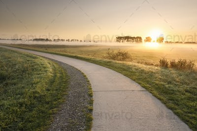 cycling road in countryside at misty sunrise
