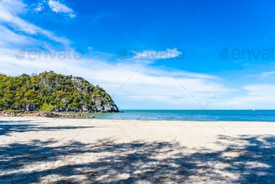 Beautiful outdoor nature landscape with tropical beach sea and o