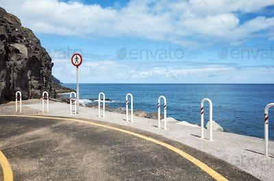 End of the road at Playa De Las Teresitas in San Andres, Tenerif