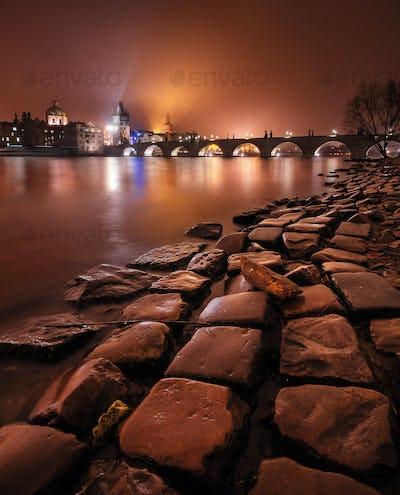 Charles bridge at night during winter time