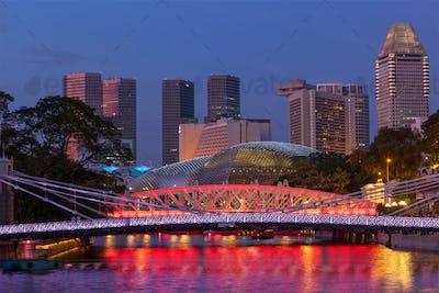 Singapore skyline and Cavenagh Bridge