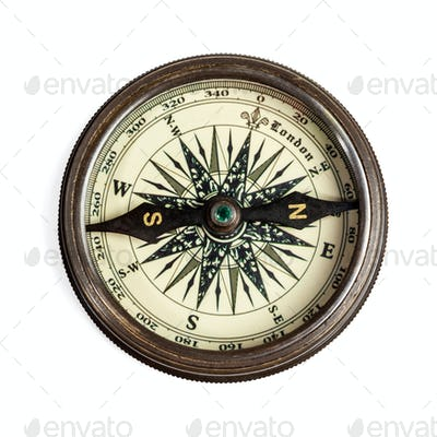 Old vintage compass isolated
