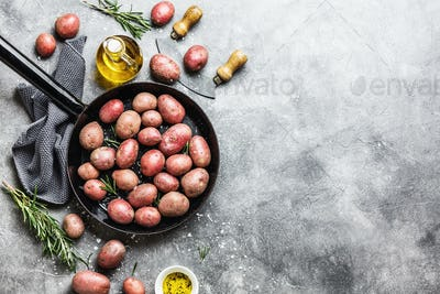 Raw organic potatoes with spices on grey background